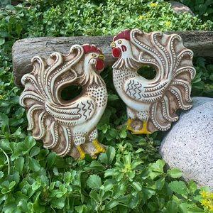 Vintage Chalkware Roosters